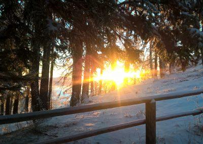 Sonnenaufgang vor der Hütte
